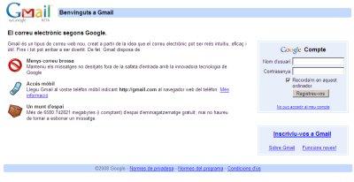 Pàgina principal del servidor de correu web Gmail